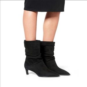 Aquatalia Maddy Black Suede Slouch Boots 6